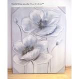 Wandbild Gemälde Blume V2 grau-silber-weiß mit Glitzersteinchen 60 x 80 cm