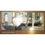 Wandbild Love weiß-silber-grau, Design mit Alu ca. 100 x 40 cm