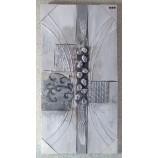 Modernes Wandbild, abstrakt grau/silber, ca. 40x80 cm auf Holzrahmen V1