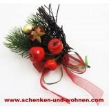 Künstlicher Weihnachts - Pick rot / gold mit Band, Beeren und Geäst ca. 14 cm