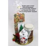 Nudelpräsent mit Gourmet-Soße und Keramik-LED-Kerze