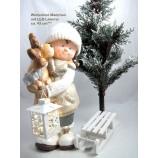 1 Winterkind Mädchen mit LED-Laterne, weiß/braun/silber  Höhe ca. 43 cm