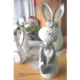 Windlicht Hasenfigur mit Herz Metall+Keramik weiß/silber ca.31 cm
