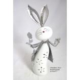 Windlicht Hasenfigur mit Blume Metall+Keramik weiß/silber ca.33 cm