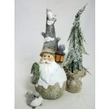 1 Winterfigur Wichtel mit Laterne und Kranz mehrfarbig Höhe ca. 30 cm