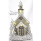 Winterhaus beleuchtet weiße Tannen mehrfarbig ca.26x15x13 (HxBxT)