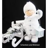 Winterkind Junge mit Laterne, Weiß  ca. 38 cm hoch