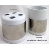 Zahnbürstenhalter Porzellan weiss-chrom Steel