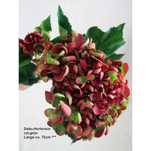 Deko-Hortensie Rot-grün Ca. 72 Cm
