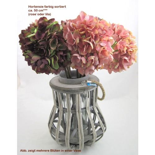 1 Kunstblüte Hortensie Farbig Sortiert, Ca. 50 Cm